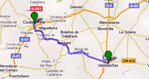 Ruta quijote ciudad real - Plano de valdepenas ...